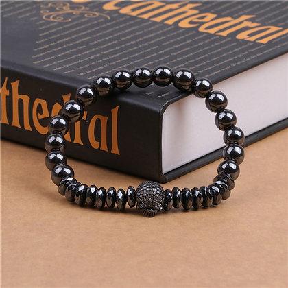 Bracelet en acier inoxydable Crâne orné de pépites de pierre naturelle