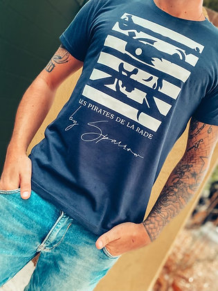 T-shirt bleu marine crâne pirate marinière