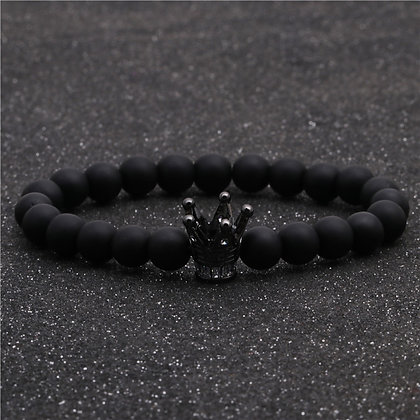 Bracelet en pierre naturel couronne noir