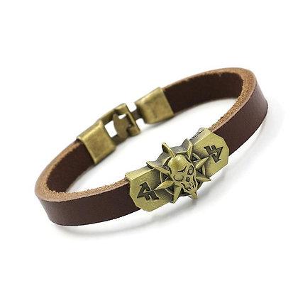 Bracelet En Cuir crâne acier couleur cuivre