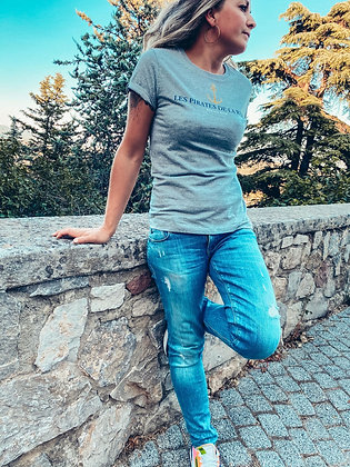 T-shirt gris claire ancre or
