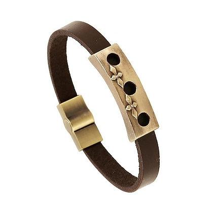 Bracelets cuir et alliage Fleur De Croix