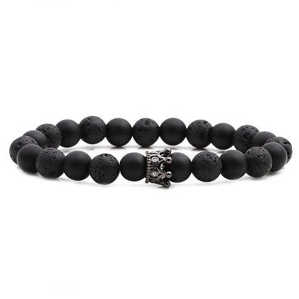 Bracelet mélange de pierre volcanique et de perle