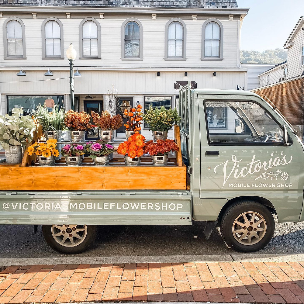 Victoria's Mobile Flower Shop truck fully stocked in Pittsburgh