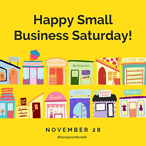 """Graphic that says """"Happy Small Business Saturday"""" with colorful small businesses and shops"""
