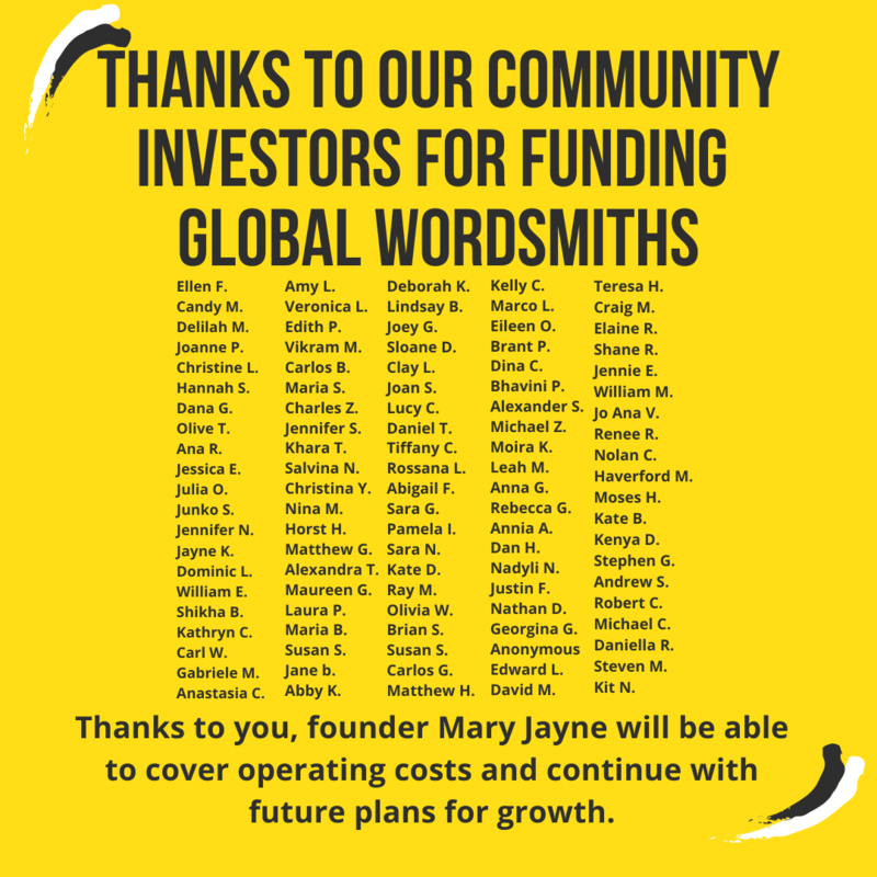 Graphic lists names of community investors that funded Global Wordsmiths