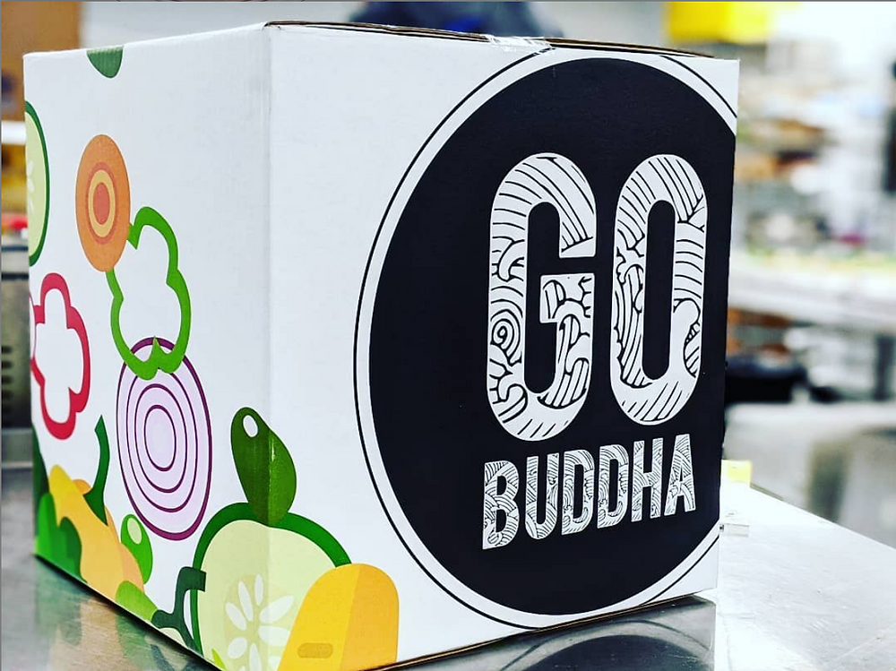 A box of Go Buddha meal kits ready for delivery