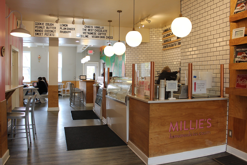 The ice cream counter at Millie's Homemade Ice Cream in Shadyside, Pittsburgh