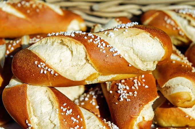 Close-up of salted pretzel bread rolls