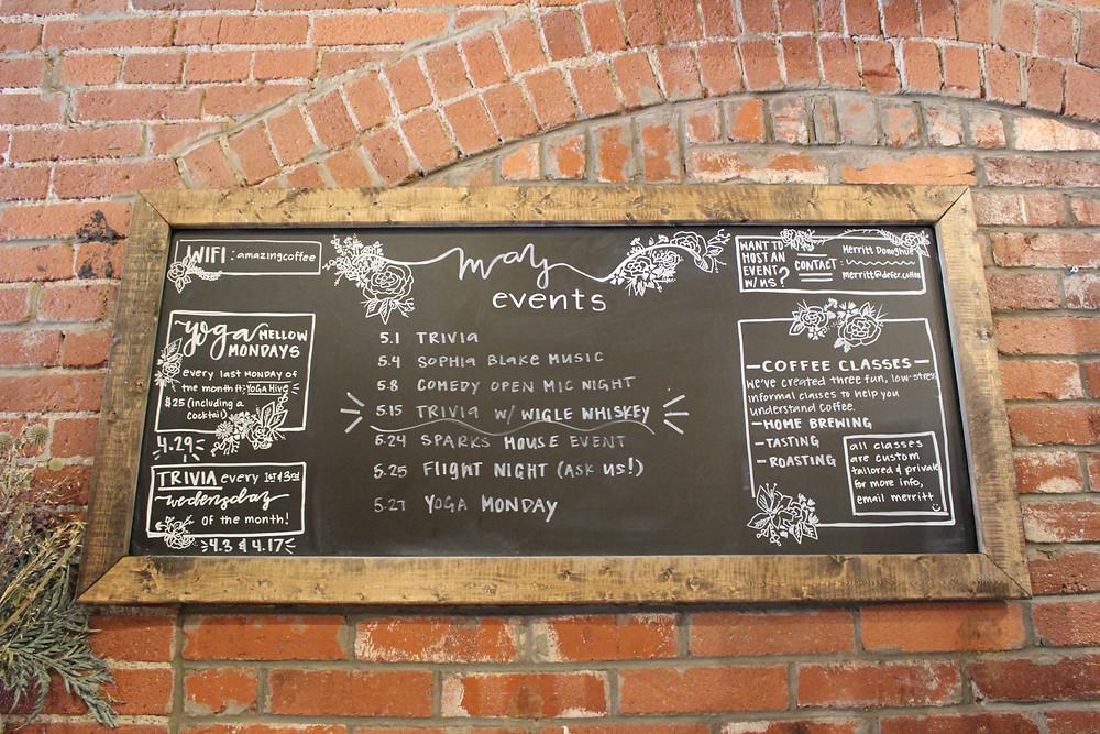 The events board at De Fer Coffee