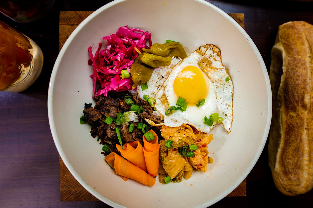 a Korean-inspired bowl of global street food from Blue Sparrow