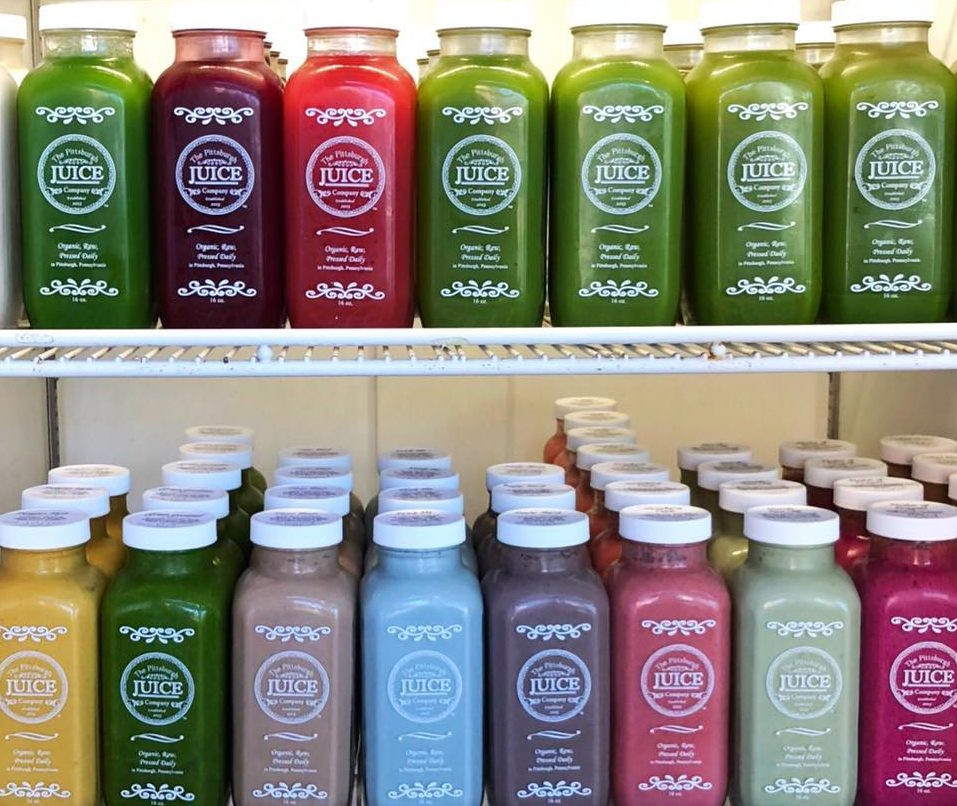 An assortment of colorful juices at The Pittsburgh Juice Company