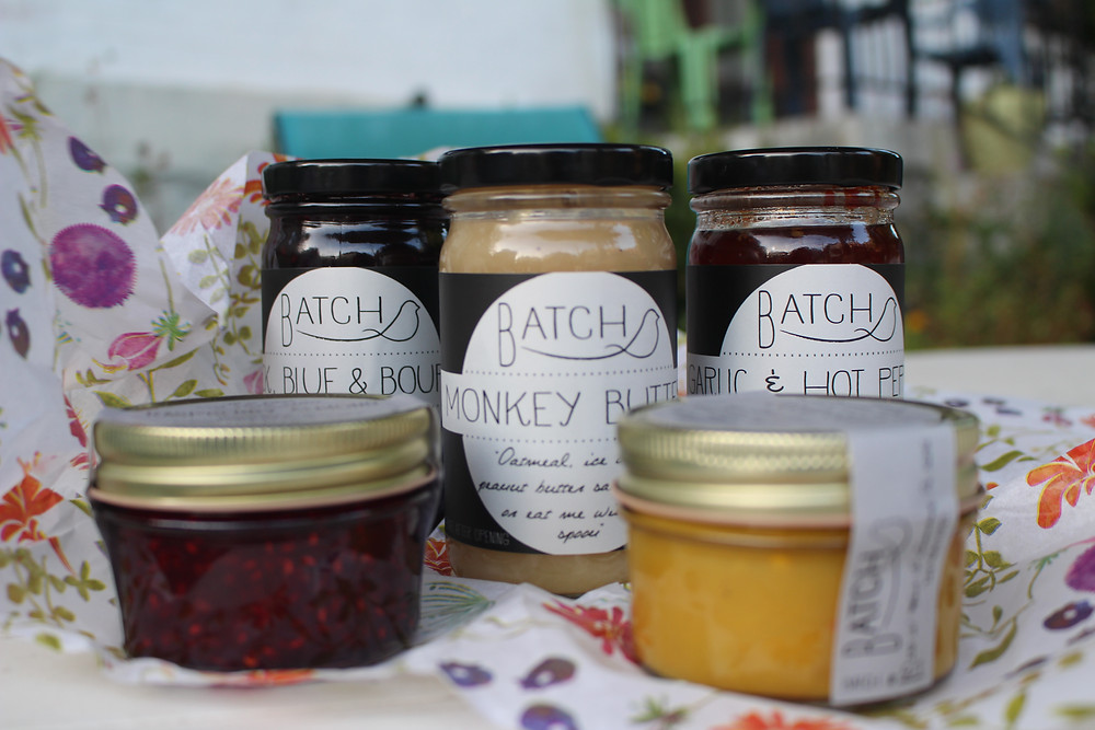 Jars of packaged jams from a collaboration of Batch and Pittsburgh Pickle Co.
