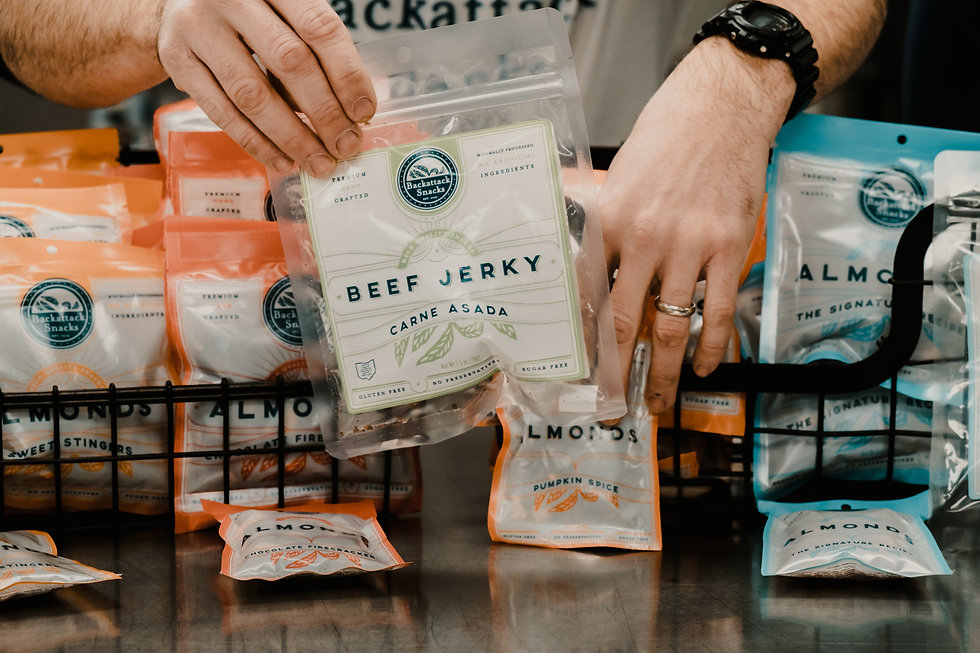 Hand holding beef jerky from Backattack Snacks, surrounded by packages of almonds and jerky