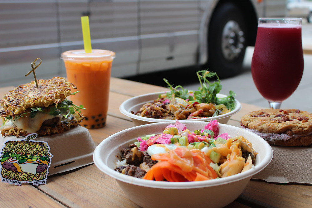ramen burger, bubble tea, japchae, and beer from Blue Sparrow Food Truck