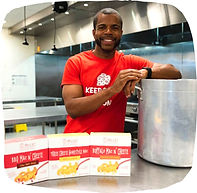 Small business owner Myles Powell with his 8 Myles gourmet mac-and-cheese