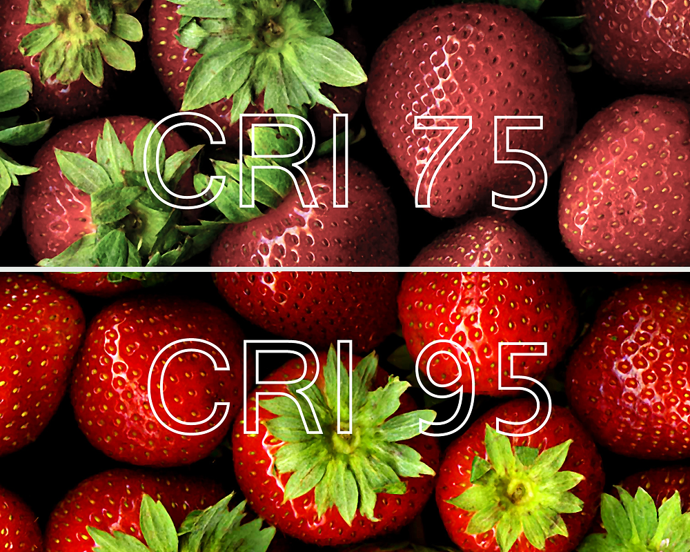 Visual comparison of strawberries with lighting from CRI 75 and CRI 95 lightbulbs