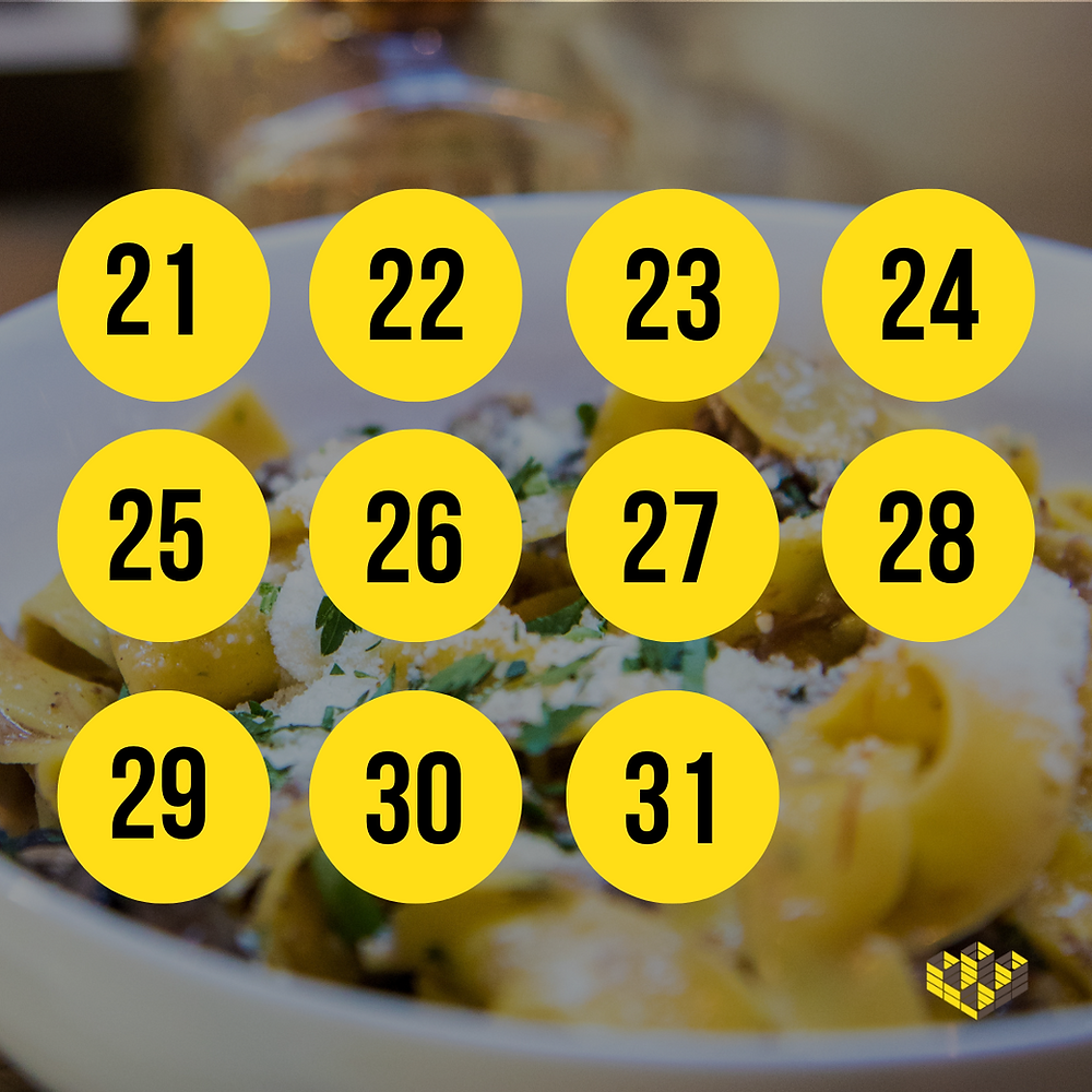 Graphic lists numbers 21 through 31 for the March Madness Noodle Challenge