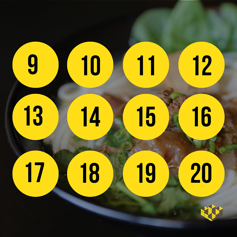 Graphic lists numbers 9 through 20 for the March Madness Noodle Challenge