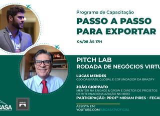 Trilha de Internacionalização e Programa de Capacitação para Exportação - Pitch Lab - Rodada de Negó