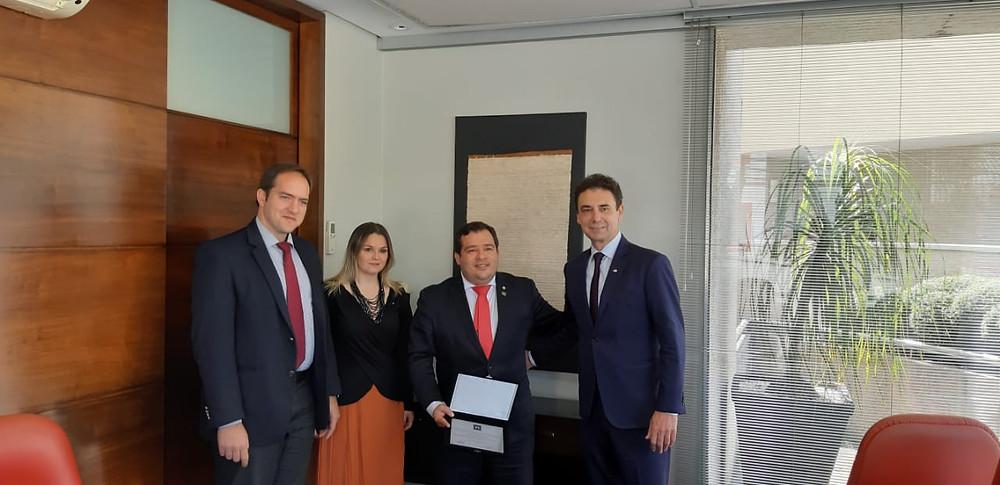 Na foto: Maurício Prazak (IBREI), Nádia Melgarejo (Consulado do Paraguai em São Paulo), Carlos Paredes (Governo do Paraguai) e Fábio Frederico (IBREI)