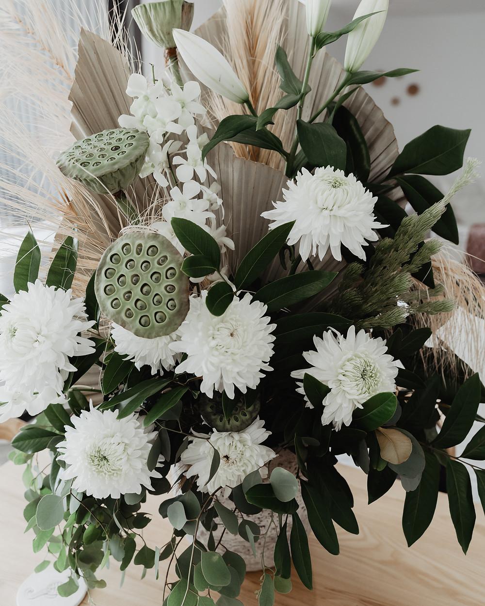 wedding flowers by haven botanical, green, white tones, bohemian
