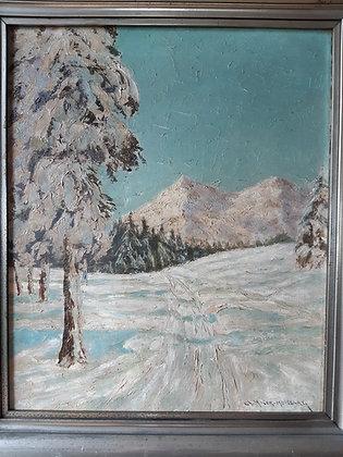 """Ch. Moser-Moosburg - """"Spuren im Schnee"""" Gemälde"""