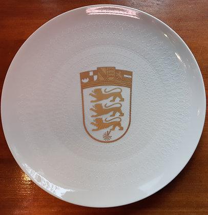 Rosenthal Teller - Nr.0216 / weiß mit goldenem Wappen Baden Württemberg