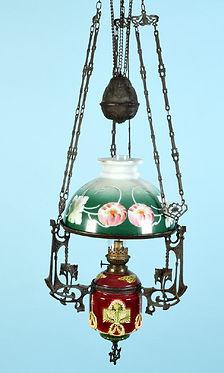 Deckenpetroleumlampe Majolika.jpg