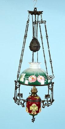 Deckenpetroleumlampe - Majolika - um 1900