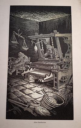 Alter Handweber - gewebtes Seidenbild
