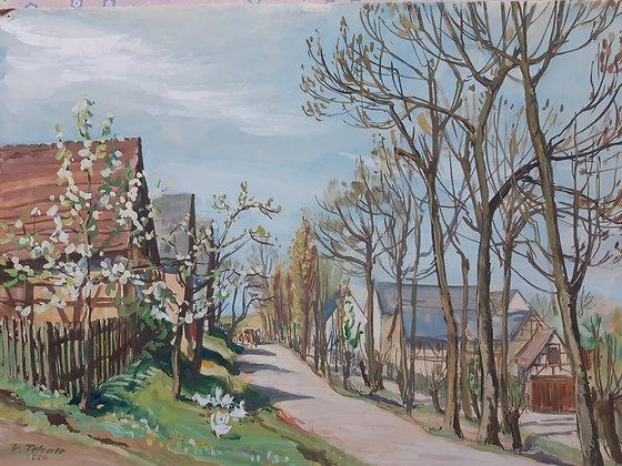 """Kurt Tetzner -Aquarell """"Dorfstraße im Frühling / Gösau Mai 1954"""""""