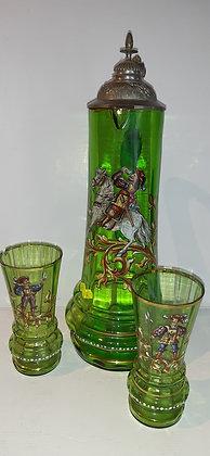 Glaskrug mit Zinndeckel & 2 Gläsern