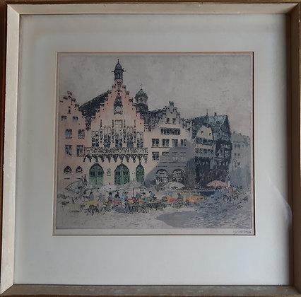 """""""Der Römer"""" Frankfurt/Main, Radierung Wolf"""