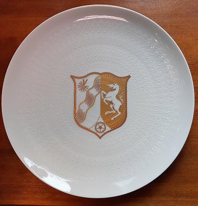 Rosenthal Teller - Nr.1598 / weiß mit goldenem Wappen NRW
