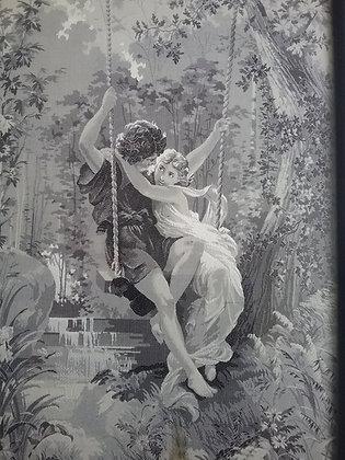 Liebespaar auf der Schaukel - Romantik - Seidenbild