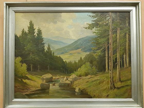 Morgenstern - Gemälde Erzgebirge Landschaft