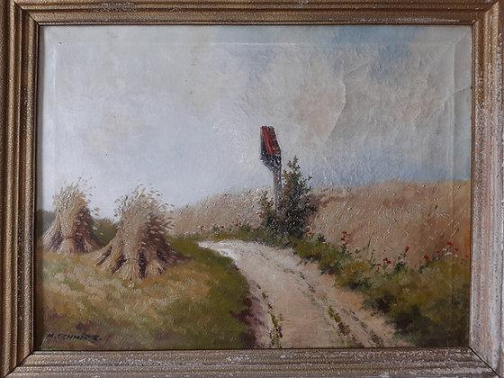 K.SCHMIDT. - orig. Gemälde Wegekreuz / Strohpuppen