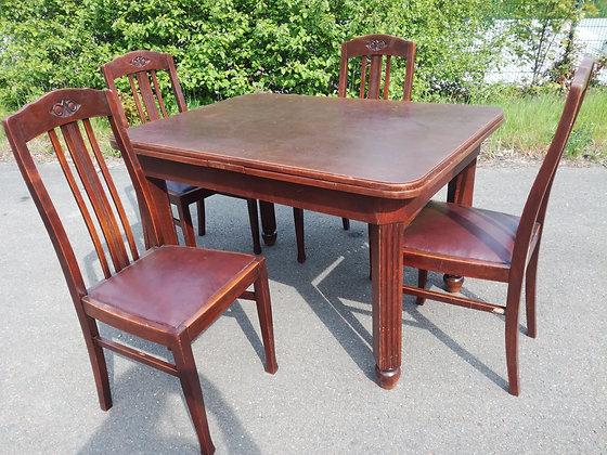 Tisch & 4 Stühle antik