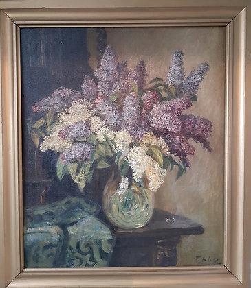 Tatjana Lietz / Zwickau - Gemälde Fliederstrauß in Vase