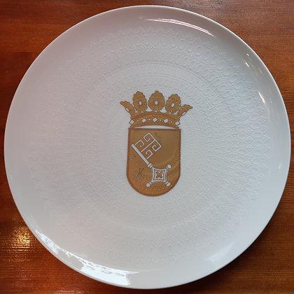 Rosenthal Teller - Nr.1174 / weiß mit goldenem Wappen Bremen
