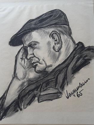 """Wolfgang Wagenschein - """"Porträtstudie"""" Kohlezeichnung"""