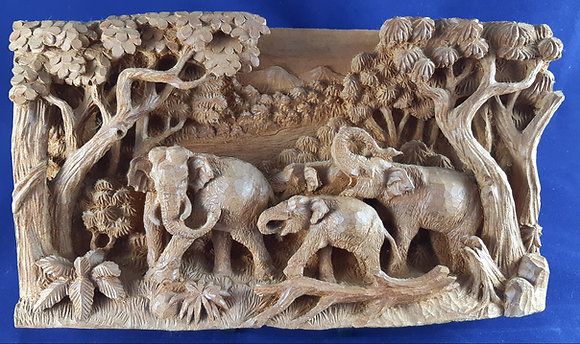 Elefantengruppe Holz Bild