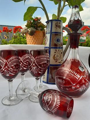Likörset / Karaffe & 5 Gläser rot geschliffen