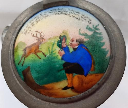 Krug antik mit Jagdmotiv & Spruch