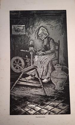 Handspinnerin - gewebtes Seidenbild