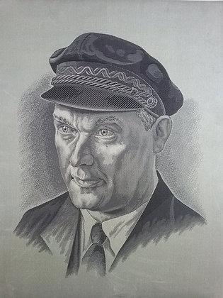 Ernst Thälmann - Porträt - Seidenbild