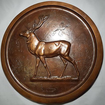 Oehme, Erich: Bronze Relief-Teller mit Hirsch