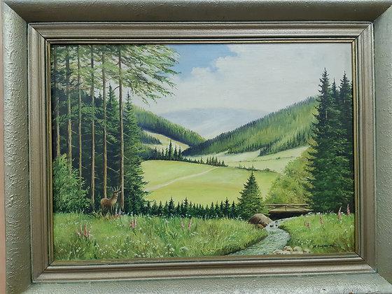 A. Krahmer 1960 - Gemälde Erzgebirge / Hirsch am Waldesrand