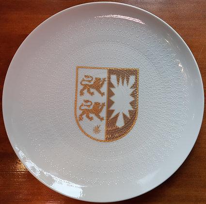 Rosenthal Teller - Nr.1024 / weiß mit goldenem Wappen Schleswig Holstein